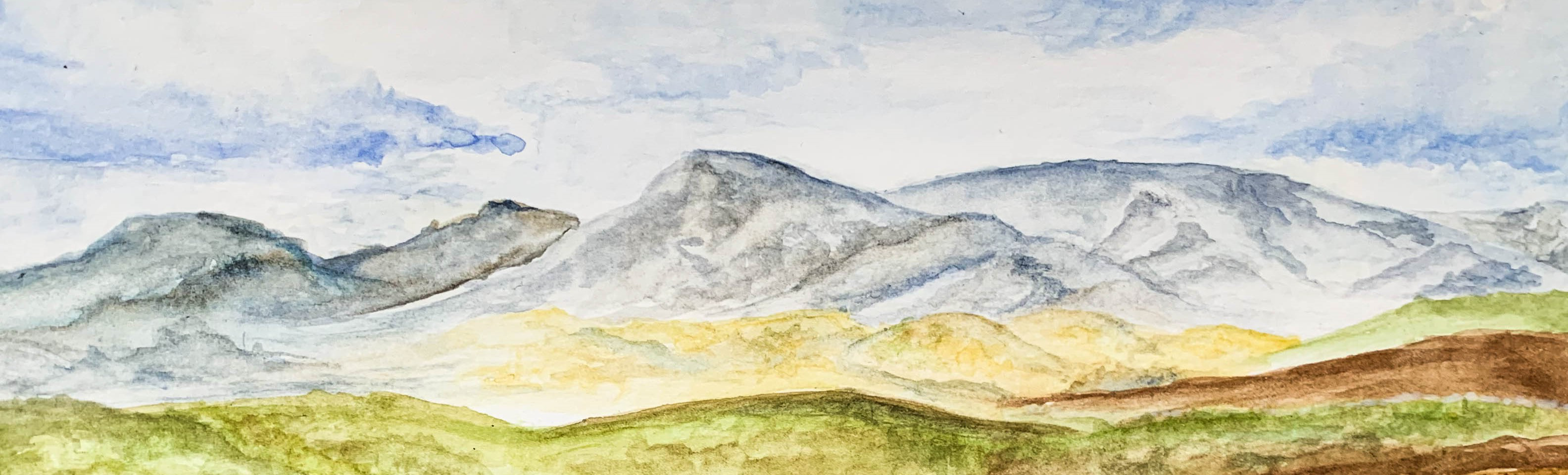 A watercolor painting of the Blue Mountains by Samarah Uribe Mendez